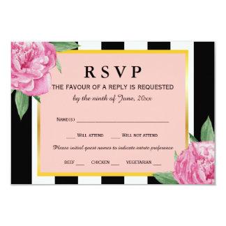 Wedding RSVP Black Stripes Pink Gold Floral Glam Card