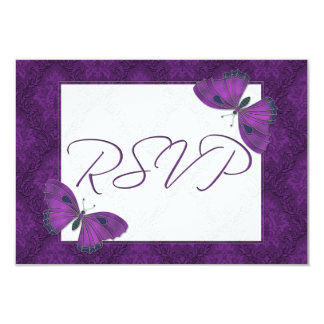 Wedding RSVP Butterfly Brocade Purple 3.5x5 Paper Invitation Card