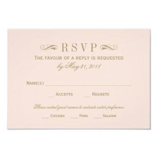 Wedding RSVP Card   Antique Gold Flourish 9 Cm X 13 Cm Invitation Card