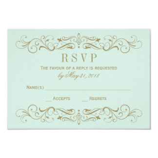 Wedding RSVP Card | Antique Gold Flourish 9 Cm X 13 Cm Invitation Card