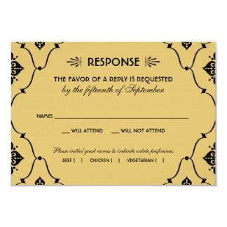 "Wedding RSVP Card | Art Deco Style 3.5"" X 5"" Invitation Card"