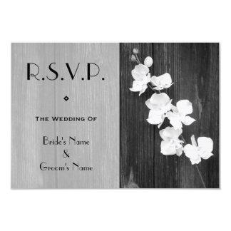 Wedding RSVP Card - Black & White Orchids Barnwood