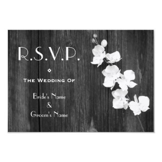 "Wedding RSVP Card - Black & White Orchids Barnwood 3.5"" X 5"" Invitation Card"