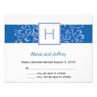 Wedding RSVP Card - Blue Monogram Vine Personalized Invitations