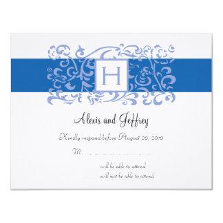 Wedding RSVP Card - Blue Monogram Vine 11 Cm X 14 Cm Invitation Card