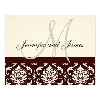 Wedding RSVP Card Brown Damask Monogram Names 11 Cm X 14 Cm Invitation Card
