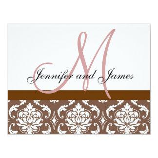 Wedding RSVP Card Brown Pink Damask Monogram 11 Cm X 14 Cm Invitation Card