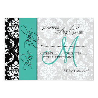 Wedding RSVP Card Damask Turquoise Names Initial