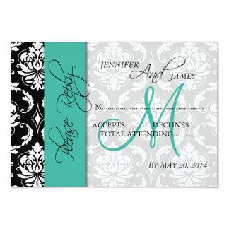 Wedding RSVP Card Damask Turquoise Names Initial 9 Cm X 13 Cm Invitation Card