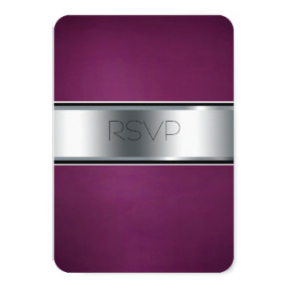 Wedding RSVP Card, Elegant Burgundy and Silver Card