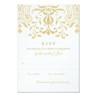 Wedding RSVP Card | Gold Vintage Glamour 9 Cm X 13 Cm Invitation Card