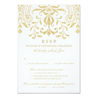 Wedding RSVP Card | Gold Vintage Glamour 9 Cm X 13 Cm Invitation Card