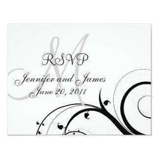 Wedding RSVP Card Monogram Names Swirls 11 Cm X 14 Cm Invitation Card