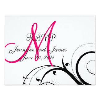 Wedding RSVP Card Pink Monogram Names Swirls 11 Cm X 14 Cm Invitation Card