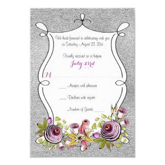 Wedding RSVP Card   Plum, FAUX Silver Foil Floral 9 Cm X 13 Cm Invitation Card