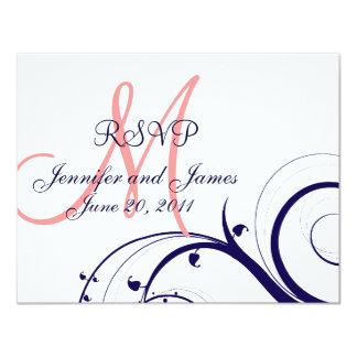 Wedding RSVP Card Swirls Navy Blue Coral Pink 11 Cm X 14 Cm Invitation Card