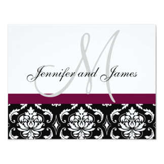 Wedding RSVP Card Wine Damask Monogram & Names