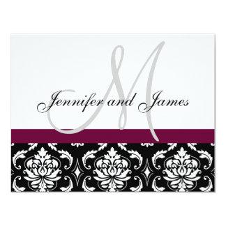 Wedding RSVP Card Wine Damask Monogram & Names 11 Cm X 14 Cm Invitation Card