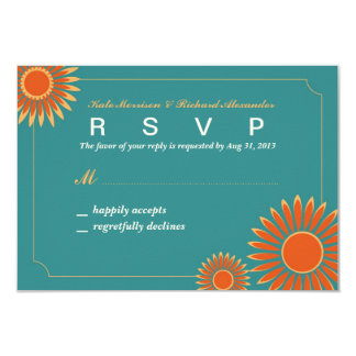Wedding RSVP Card with Hot Summer Sunflower 9 Cm X 13 Cm Invitation Card