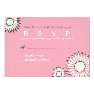 Wedding RSVP Card with Sweet Pink Sunflower 9 Cm X 13 Cm Invitation Card
