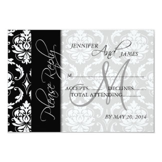 Wedding RSVP Cards Black Damask Monogram 9 Cm X 13 Cm Invitation Card