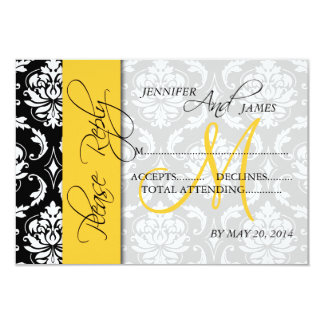 Wedding RSVP Cards Damask Monogram Yellow 9 Cm X 13 Cm Invitation Card