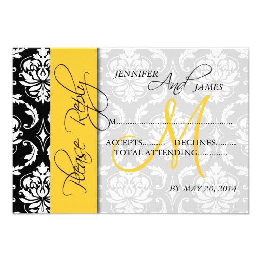 Wedding RSVP Cards Damask Monogram Yellow Personalized Invite
