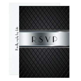 Wedding RSVP Cards, Elegant Black and Silver Card