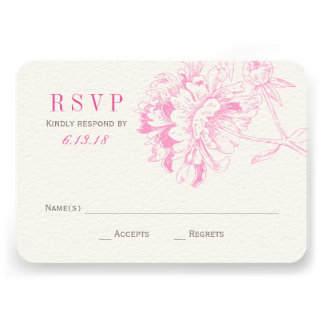 Wedding RSVP Cards Fuchsia Floral Peony