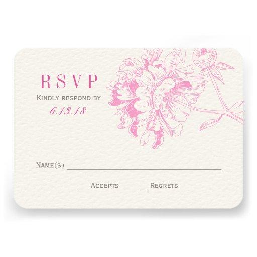 Wedding RSVP Cards | Fuchsia Floral Peony