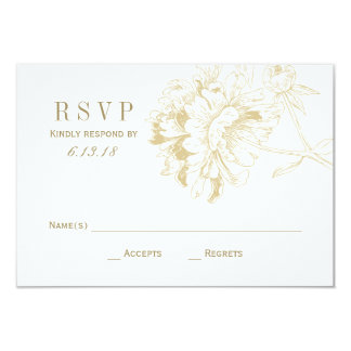 Wedding RSVP Cards | Gold Floral Peony 9 Cm X 13 Cm Invitation Card