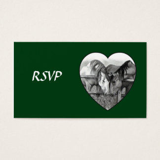 WEDDING RSVP CARDS: HORSES in PENCIL: HEART Business Card