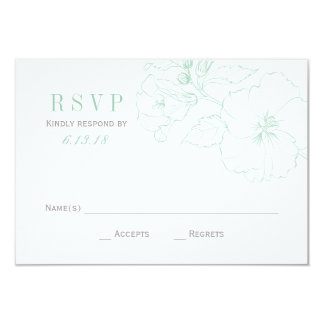 Wedding RSVP Cards | Mint Hibiscus Flowers 9 Cm X 13 Cm Invitation Card