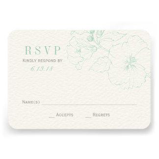 Wedding RSVP Cards | Mint Hibiscus Flowers Announcement