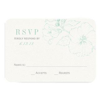 "Wedding RSVP Cards | Mint Hibiscus Flowers 3.5"" X 5"" Invitation Card"