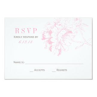 Wedding RSVP Cards | Pink Floral Peony 9 Cm X 13 Cm Invitation Card