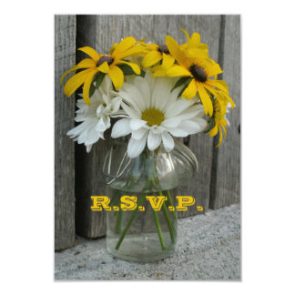Wedding RSVP: Daisies, Black Eyed Susans, Barnwood Card
