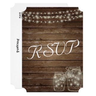 Wedding RSVP Elegant Rustic Mason Jar Lights Card