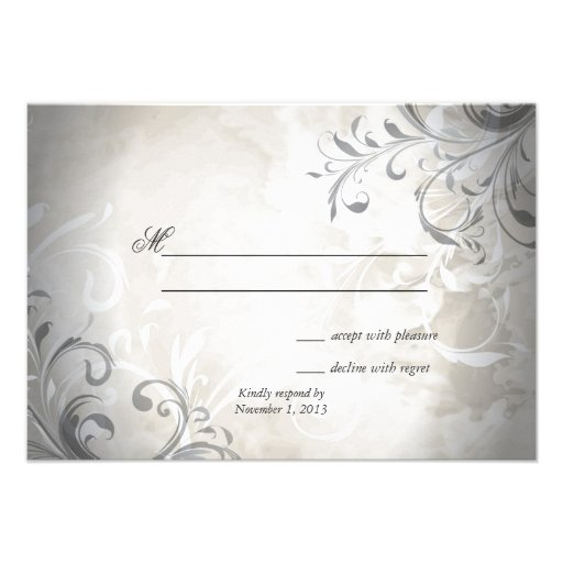 Wedding RSVP Elegant Vintage Foliage & Swirl Invitation