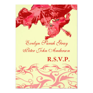 Wedding rsvp exotic red hibiscus brocade 14 cm x 19 cm invitation card