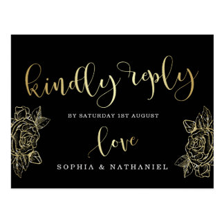 Wedding RSVP   Gold Glitter Roses & Black Postcard