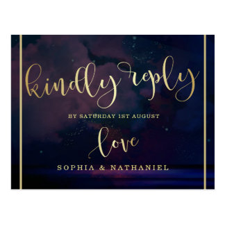 Wedding RSVP   Gold Script & Starry Night Sky Postcard