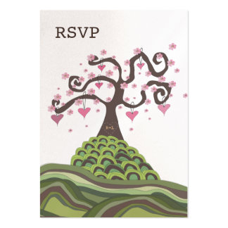 Wedding RSVP Monogram Blossom Tree Flat Cards Pack Of Chubby Business Cards
