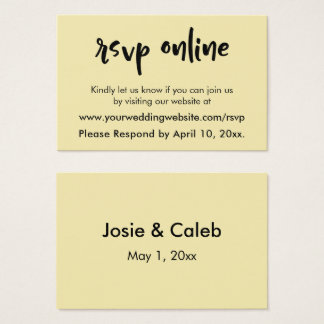 Wedding RSVP Online Casual Font over Butter Yellow Business Card