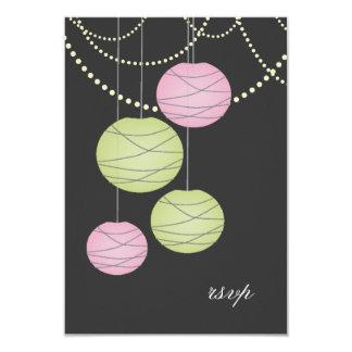 Wedding RSVP Pink Green Paper Lanterns Cards