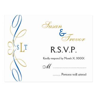 Wedding RSVP Post Card - Monogram Script