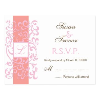 Wedding RSVP Post Card - Monogram Vine
