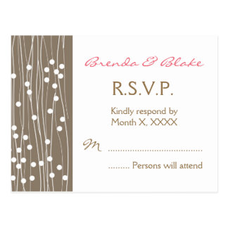 Wedding RSVP Post Card - Organic Dots and Lines