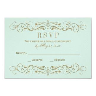Wedding RSVP Postcard   Antique Gold Flourish 9 Cm X 13 Cm Invitation Card