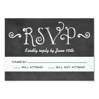 Wedding RSVP Postcard | Black Chalkboard Charm